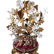 Adorable antique French ormolu wedding display stand : bride's wax  crown : flowers : lily : pansy