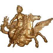 Exquisite antique French bronze Pegasus horse and Muse architectural : furniture mount