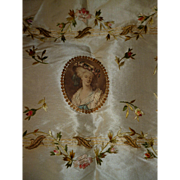 Antique French cream taffeta panel : hand embroidered silk roses rosebuds : medallion : sequins : gold embroidery leaves