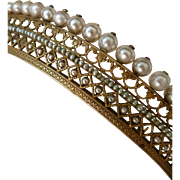 Exquisite antique French Empire vermeil and faux pearl diadem : tiara : floral motifs
