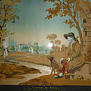 Exquisite French chenille needlework and painted silk bucolic scene : faithful dog : blind man : dated 1844