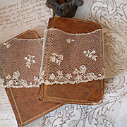 5 rare flounces 18th C. French Argentan hand made ecru needle lace floral motifs 151 inches