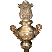 Unusual antique French religious procession pole finial : cherubs : flaming sacred hearts : church