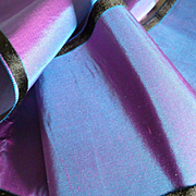 Delicious 19th C. French iridescent taffeta ribbon : petrol blue : shocking pink :  79 inches long : projects