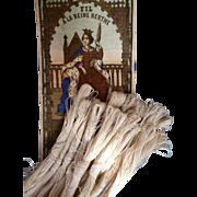 Bundle 19th C. French fine linen ecru cordonnet thread for lace making in original packaging  A La Reine Berthe ( 12 )