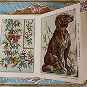 Splendid old French tapestry : embroidery pattern booklet or album : dog : flowers bird motifs Maison Sajou