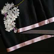 Morceau quality 19th C. French black satin fabric pink margins : doll projects : 104 inches long