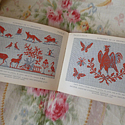 Interesting old French embroidery pattern album : monograms : ornamentations : crowns : animals