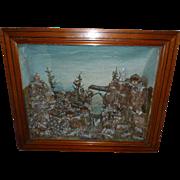 Decorative 19th C. alpine mountain scene : glass stag : diorama  : shadow box