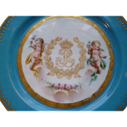Faded grandeur 19th C. French hand painted porcelain gilded plate : cherubs Louis Philippe monogram crown