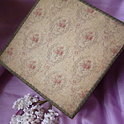 Faded grandeur fabric covered boudoir box : pink roses : urns : wreaths : bows : metallic trim