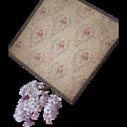 Faded grandeur fabric covered boudoir box : pink roses : urns : wreaths : bows : metallic trim