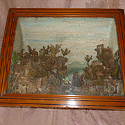 Decorative 19th C. diorama : display shadow box : mountain scene : donkey with peasants : chalet : Chateau : ruin ( ref no. 1890 )