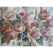 Decorative 19th C. hand painted Aubusson tapestry pattern : cartoon floral bouquet swags draperies