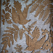 Delicious pair 19th C. French black tulle curtains : bird  : floral : foliage motifs: Chateau provenance