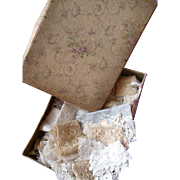 Shabby faded grandeur fabric covered box filled with lace : collars : embroidered and tulle : projects