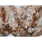 Faded grandeur 19th C. French wedding dome embellishment : heart : monogram : glass beads