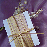10 yards delicious French narrow graduated : ombre ribbon : lemon and lilac : circa late 1800's