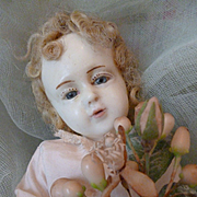 Angelic 19th C. French wax Baby Jesus figure : doll : blue eyes : curly hair : creche : 10 inches high