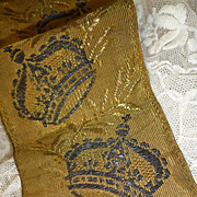 Faded grandeur antique French weighty gold metallic religious trim : crown and cross motifs