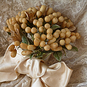 Faded grandeur 19th century French bride's wax wedding bouquet  : cream satin bow