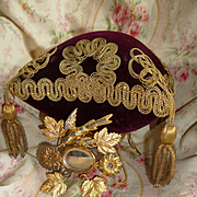 Opulent 19th C. French square wedding display pillow : metal stand dove : gold metallic tassels