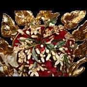 Romantic 19th C. French ormolu upright wedding cushion bride's wax crown : doves :ribbon bow