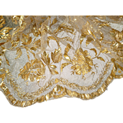 Morceau antique tulle antependium gold thread and wire embroidery religious alter textile