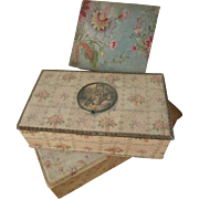 3 Delicious faded grandeur fabric covered boudoir boxes floral  rose motifs : medallion