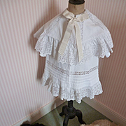 Adorable Edwardian small child's white coat : shawl collar : ribbon bow : broderie anglaise trim