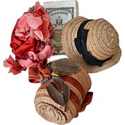 3 delightful old French small doll bonnets : hats : straw : millinery flowers : ribbon