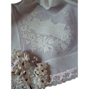 19th C. French souvenir handkerchief : hanky: hand embroidered Gare de Strasbourg : floral motifs : lace