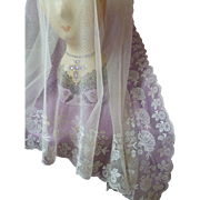 Pretty antique French embroidered tulle off white veil  : floral foliage motifs : Compagnie des Indes box
