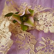 2 flounces French hand made bobbin silk lace Blonde de Caen motifs : doll clothes projects