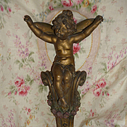 Enchanting 19th century French unusual winged fairy scrolled plinth : ideal ciel de lit piece: flaral swag