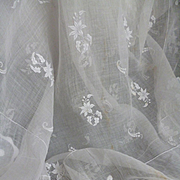 Ethereal 19th C. hand embroidered organdi shawl : floral foliage motifs : projects