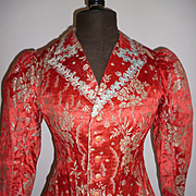 19th C. red silk brocade ladies jacket silver metallic thread : floral motifs : stars