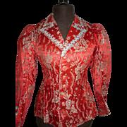 19th C. red silk brocade ladies jacket silver metallic thread : floral motifs : stars