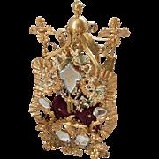Unusual 19th C. French ormolu wedding cushion display stand : tassels : bride's wax crown corsage