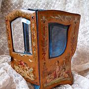 Enchanting 19th C. French miniature display sedan chair vitrine : cherubs : mignonette doll
