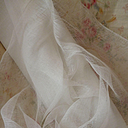 Ethereal old white soft tulle : muslin type fabric : convent attic : doll clothing projects :  52 inches wide