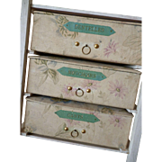 French faded grandeur boudoir storage cabinet : fabric covered boxes : lace : gloves : hanky