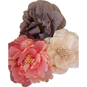Delicious handmade vintage millinery flowers : pink : grey : cream