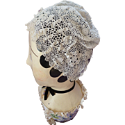 Adorable old French white hand made fine  irish lace crochet childs  bonnet : hat : pompoms