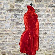 Beautiful antique French faded grandeur red silk velvet ladies cape