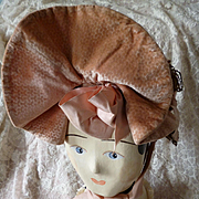 Faded grandeur antique French frothy ladies pink peach bonnet : satin ribbons : lace