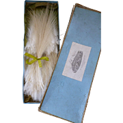 French box full of unused vintage cream egret millinery feathers : doll projects