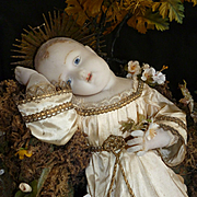 Charming antique French wax Baby Jesus doll : crown : blue glass eyes : Napoleon III period