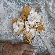Delicious 19th century French bride's wedding bouquet : ormolu tussie mussie holder : roses