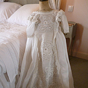 Beautiful French organdy baby Christening gown : robe : embroidery : lace : circa 1900